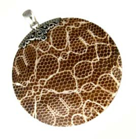 "BALI Sterling Silver ""Snakeskin"" Pendant - Large Round"