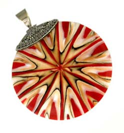BALI Sterling Silver Red Starburst Shell Pendant - 52mm Round