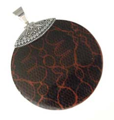 "BALI Sterling Silver ""Snakeskin"" Pendant - Large Round Red/Black"