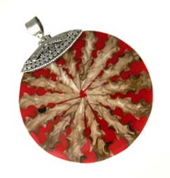 BALI Sterling Silver Red Shell Pendant - 52mm Round