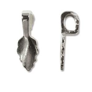 Silver Plated 21.7x.7.7mm Glue on Jewellery Leaf Bail x1