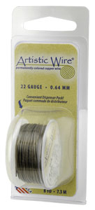 Artistic Wire 26ga Antique Brass (formerly Gunmetal) per 15 yd (13.7m) Dispenser Roll