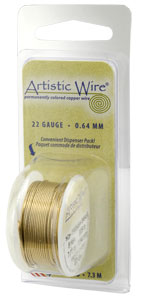 Artistic Wire - 22g Non-Tarnish Brass per 8 yd (7.3m) Dispenser Roll