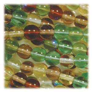 Czech Glass Beads Round Druk 4mm Earthtone Mix x100