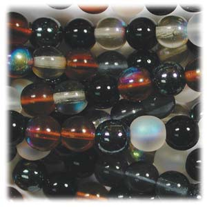 Czech Glass Beads Round Druk 4mm Pebblestone Mix x100