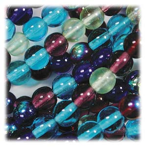 Czech Glass Beads Round Druk 4mm Gemtones Mix x100