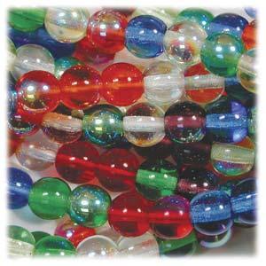 Czech Glass Beads Round Druk 4mm Rainbow AB Mix x100