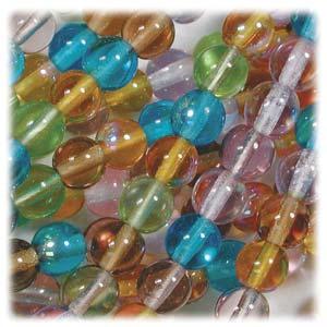 Czech Glass Beads Round Druk 4mm Prairie Mix x100