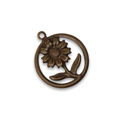 Vintaj Natural Brass 22x19mm Sunflower Motif x1