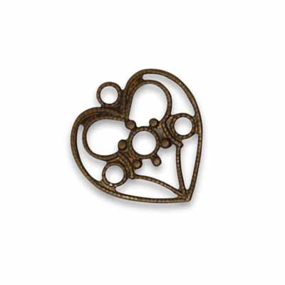 Vintaj Natural Brass 19x18mm Delicate Heart Charm x1