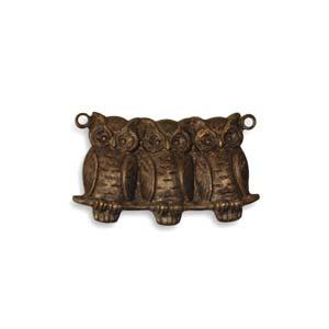 Vintaj Natural Brass 22x11.5mm Perched Owls Pendant x1