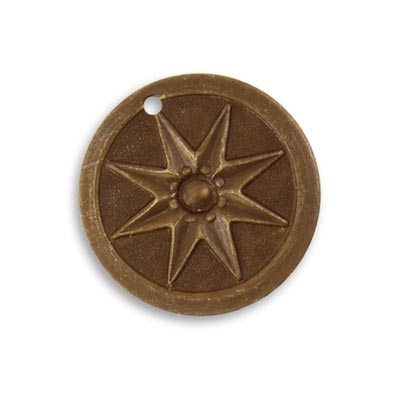 Vintaj Natural Brass 21.5mm Compass Star Pendant