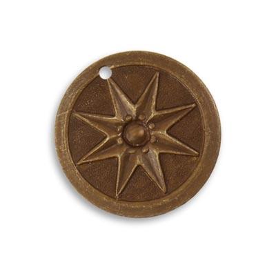 Vintaj Natural Brass 21.5mm Compass Star Pendant