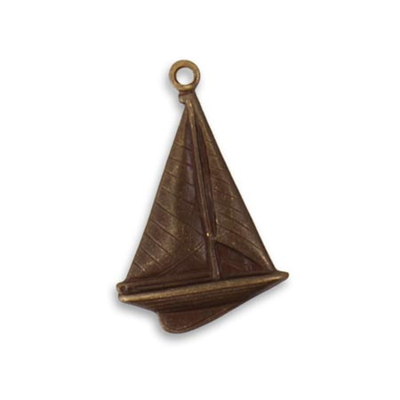 Vintaj Natural Brass 23.5x16mm Windy Sailboat