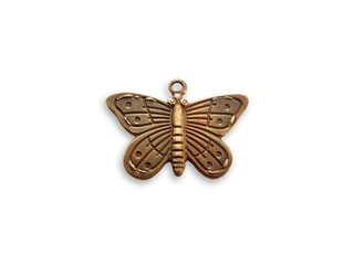 Vintaj Natural Brass 20x14mm Etched Butterfly Charm x1