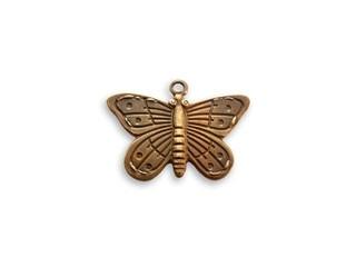 Vintaj Natural Brass 20x14mm Etched Butterfly Charm x1