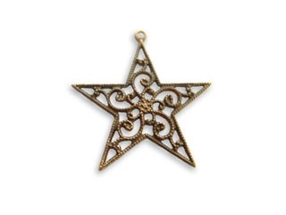 Vintaj Natural Brass 25x26mm Filigree Star Charm Drop - Wrap x1