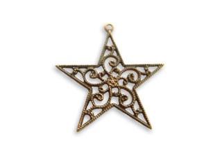 Vintaj Natural Brass 25x26mm Filigree Star Charm Drop - Wrap x1