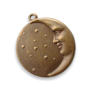 Vintaj Natural Brass 18x19mm Moon Face Charm x1