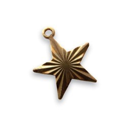 Vintaj Natural Brass 13x14mm Etched Star Charm x1