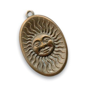 Vintaj Natural Brass 14x22mm Sun Face Charm x1