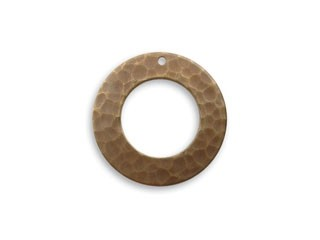 Vintaj Natural Brass 22mm Hammered Pendant / Toggle Ring x1