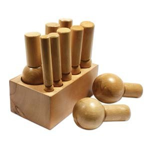 Large Hardwood Dapping Block & Punches Set , Jewellery Making Tools