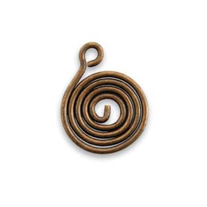 Vintaj Natural Brass 16x20mm Coiled Swirl Drop Charm x1