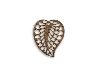 Vintaj Natural Brass 19x16mm Filigree Leaf Charm x1