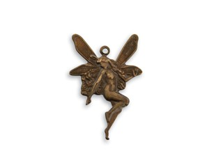 Vintaj Natural Brass 25x17mm Whimsical Nouveau Fairy Charm x1