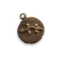 Vintaj Natural Brass 9.5mm Teensie Lizard Round Charm x1