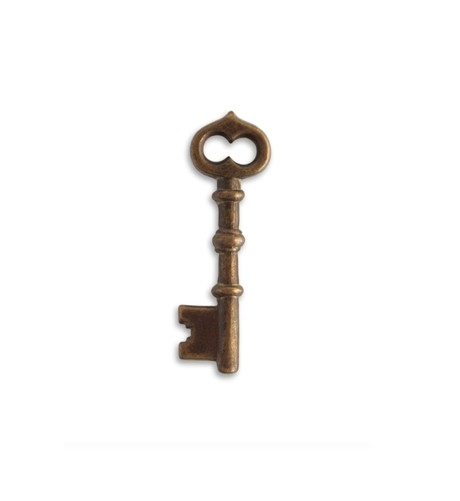 Vintaj Natural Brass 43x13mm Skeleton Key x1