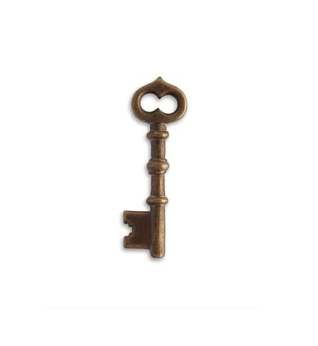 Vintaj Natural Brass 43x13mm Skeleton Key x1