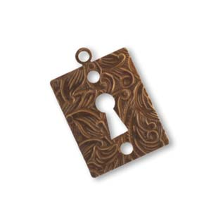 Vintaj Natural Brass 20x14mm Embossed Keyhole x1