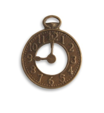 Vintaj Natural Brass 25x20mm Clock x1