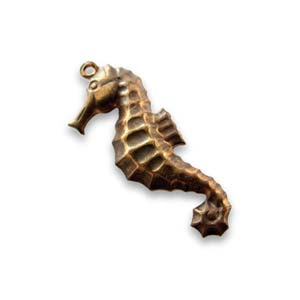 Vintaj Natural Brass Seahorse 26x10mm Sea Horse Charm x1