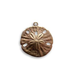 Vintaj Natural Brass 16x18mm Sand Dollar Charm x1