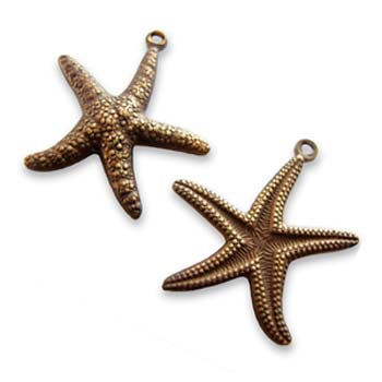 Vintaj Natural Brass Starfish 20x23mm Star Fish Charm x1