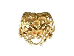 Bali Gold Vermeil 19x12x18 mm (hole 7.8mm) Focal Filigree Frangipani Necklace Bail Pendant Slider x1
