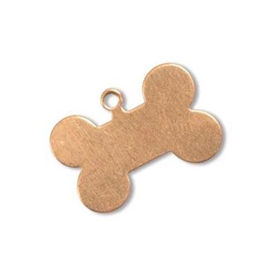 Copper Metal Stamping Blank, Dog Bone 20x14mm 24ga x1