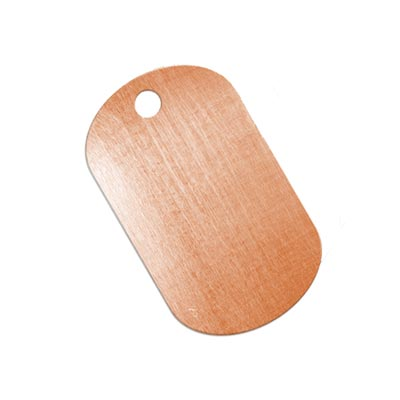 Copper Metal Stamping Blank, Dog Tag (1 1/4 inch) 32x19mm Pendant 24ga x1