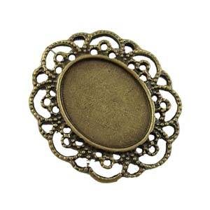 Antiqued Bronze Boho Gold 40.5x35mm Pendant Setting for 25x19mm Oval Cabochons x1