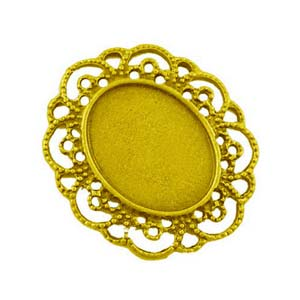 Gold Tone 40.5x35mm Pendant Setting for 25x19mm Oval Cabochons x1