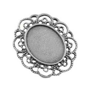 Silver Tone 40.5x35mm Pendant Setting for 25x19mm Oval Cabochons x1