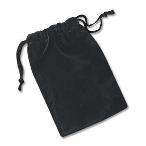 Black Velvet Velveteen Drawstring Bag Gift Pouch, 4x3 inch 100x80mm