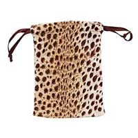 "Velvet Drawstring Pouch ~ Leopard 4x3"" 100x80mm x12pc"