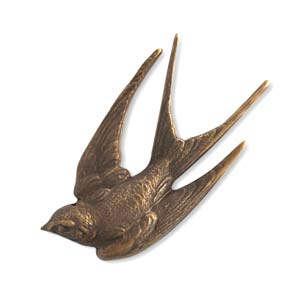 Brass VINTAJ - Natural - 41x18mm Diving Sparrow - no hole x1