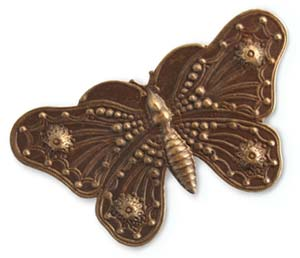 Vintaj Natural Brass - 69x38mm Butterfly Grandeur x1