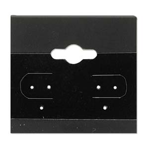 "Earring Display Card 1.5x1.5"" Black Velvet 10 pk"