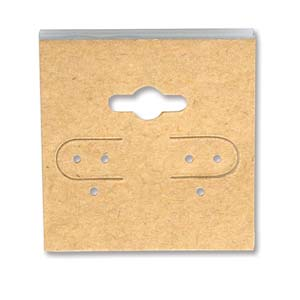 Earring Display Card 1.5x1.5 inch Plain Natural 10 pk